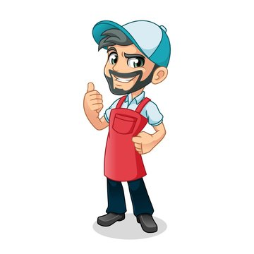 Man thumbs up with car wash apron mascot cartoon character design vector illustration