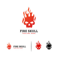Fire Skull logo designs concept vector, Hot Head Skull logo template symbol
