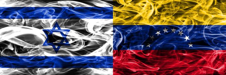 Israel vs Venezuela smoke flags placed side by side. Israeli and Venezuela flag together