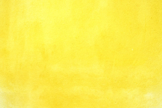 Watercolor background, art abstract yellow watercolor painting textured design on white paper background