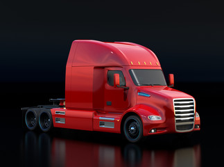 Metallic red fuel cell powered American truck cabin on black background. 3D rendering image.