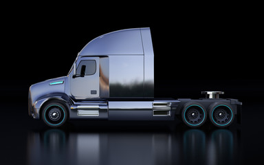 Side view of black American fuel cell powered truck cabin on black background. 3D rendering image.