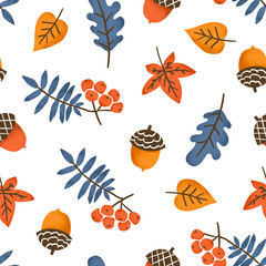 Autumn seamless pattern with leaves, berries and acorns