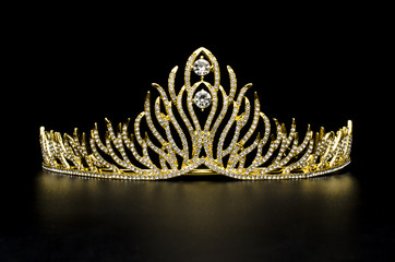 Wall Mural - gold diadem with diamonds isolated on black