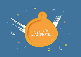 Happy Halloween Party flat vertical poster. Vector illustration.