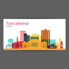 Tuscaloosa city architecture silhouette. Colorful skyline. City flat design. Vector business card.