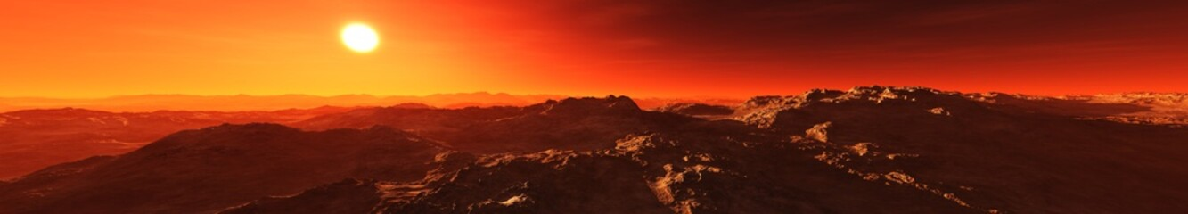 A beautiful Martian landscape at sunrise. Panorama of Mars. 3D rendering