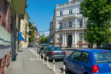 View o a street and it's surrounding buildings in Arad Romania