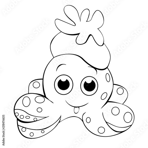 The Funny Octopus Is Poking Out His Tongue On The White Background