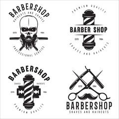 Barber shop badges set. Barbers hand lettering. Design elements for logo, labels, emblems.