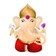 Ganesha - indian god - illustration, white background