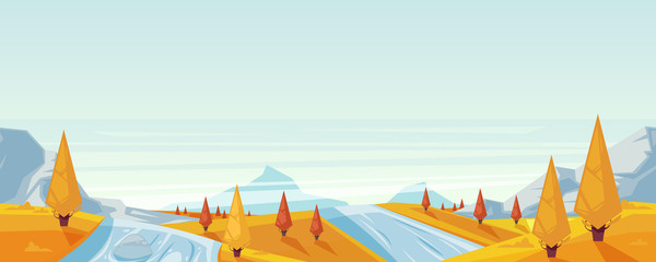 Seamless horizontal autumn landscape background. Vector fall season illustration of mountains, hills, lake
