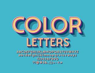 Vector Hipster Color Alphabet Letters. Retro Style Cool Font Set.