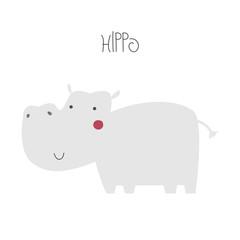 Cute cartoon hippopotamus. Kids graphic. Vector hand drawn illustration.