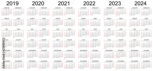 """Six year calendar - 2019, 2020, 2021, 2022, 2023 and 2024 ..."