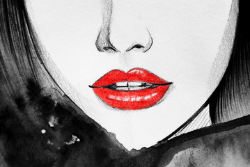 Red lips, woman