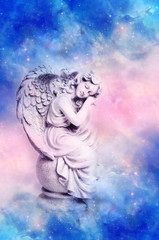 Wall Mural - angel archangel Gabriel, Haniel, Ariel with pink blue sky and stars of Universe