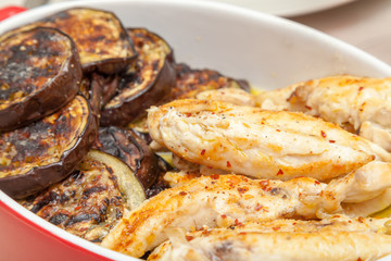 Baked eggplant and chicken