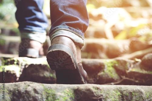 Traveler Tourist Close Up Leg Of Young Hipster Man One