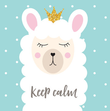 Little cute princess llama with crown for card and shirt design. Vector Illustration