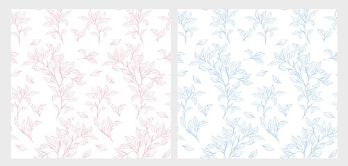 Hand Drawn Pink and Blue Twigs Vector Patterns Set. Delicate Romantic Illustrations. White Background. Wall mural
