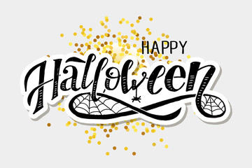 Happy Halloween lettering Calligraphy Brush Text Holiday Vector Sticker Gold