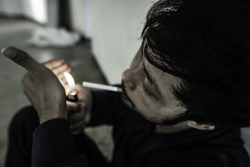 Men with depression and addiction smoking severely