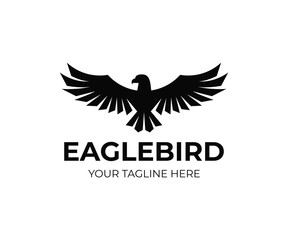 Eagle coat logo design. Falcon bird vector design. Flying hawk logotype