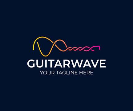Guitar sound wave logo design. Audio waves vector design. Guitar waveform logotype