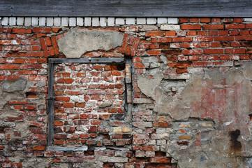 Old damaged brick wall.