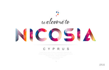 Welcome to nicosia cyprus card and letter design typography icon