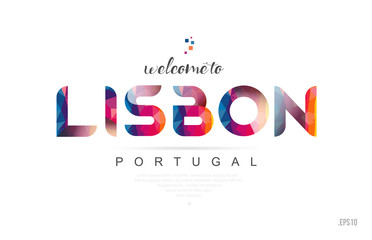 Welcome to lisbon portugal card and letter design typography icon