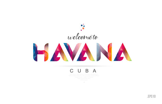 Welcome to havana cuba card and letter design typography icon