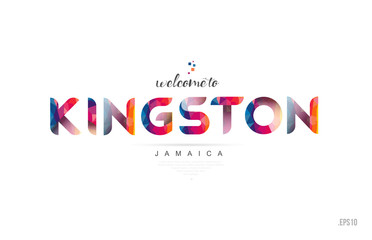 Welcome to kingston jamaica card and letter design typography icon