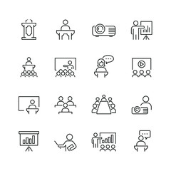 Business presentation related icons: thin vector icon set, black and white kit