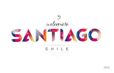 Welcome to santiago chile card and letter design typography icon
