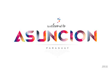 Welcome to asuncion paraguay card and letter design typography icon