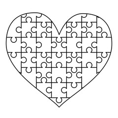 White puzzles pieces arranged in a heart shape. Easy Jigsaw Puzzle template ready for print. Cutting guidelines isolated on white
