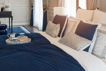 luxury bedroom in indigo blue tone