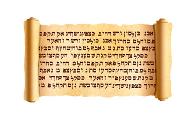 Old textured wide papyrus scroll with ancient hebrew text without any sense isolated on white