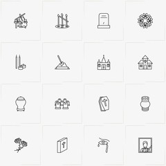 Funeral line icon set with tombstone, urn for ashes and music instruments