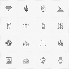 Funeral line icon set with priest dress, church  and tombstone