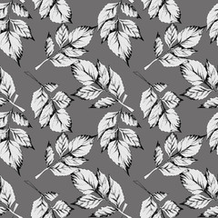 Leaves Seamless Pattern. Hand drawn Illustration.