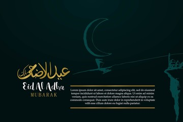 Hand drawn of moon with calligraphy for Eid Al Adha greeting design with sample text.
