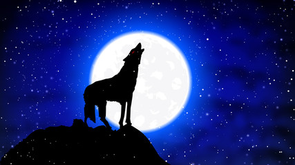 A wolf in the snow howls at the full moon