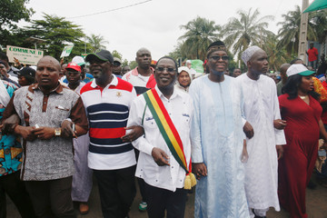 The losing candidate in Mali's presidential election, Soumaila Cisse of opposition party URD (Union for the Republic and Democracy) walks during a protest against what he said is fraud in the second-round vote count in Bamako