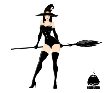 Pretty witch in magic hat with broom. Design element for Halloween banner or holiday card. Vector illustration isolated on white background.