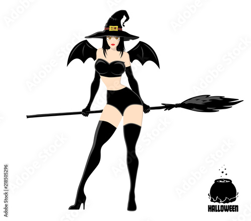 pretty witch in magic hat with broom design element for halloween