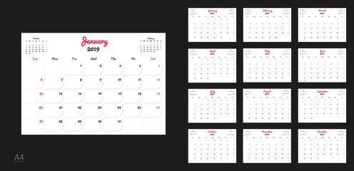 Template design of calendar planner for 2019 year with corporate style.