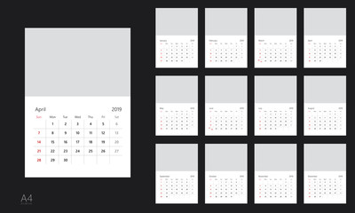 Vector design template of calendar for 2019 year.